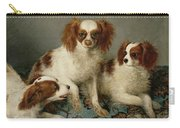 Three Cavalier King Charles Spaniels On A Rug Carry-all Pouch