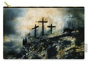 Three Crosses On Golgotha Grunge Background Carry-all Pouch