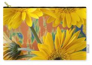 Three Daisy's And Butterfly Carry-all Pouch