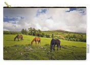 Three Horses Grazing In Field Carry-all Pouch