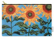 Three Sunflowers IIi Carry-all Pouch by Genevieve Esson