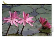 Three Sweet Pink Water Lilies Carry-all Pouch