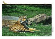 Tiger - Endangered - Lying Down - Tongue Out Carry-all Pouch