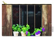 Time Worn Window With Bright Flowers Carry-all Pouch
