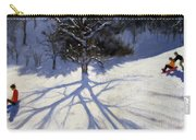 Tree And Two Tobogganers Carry-all Pouch by Andrew Macara