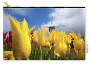 Tulips In A Field And A Windmill At Carry-all Pouch