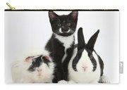 Tuxedo Kitten With Black Dutch Rabbit Carry-all Pouch