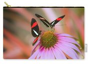 Two Colorful Butterflies On Cone Flower Carry-all Pouch