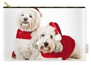 Two Cute Dogs In Santa Outfits Carry-all Pouch