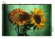 Two Flowers On Texture Carry-all Pouch