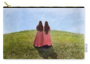 Two Girls In Vintage Dresses Walking Up Grassy Hill Carry-all Pouch