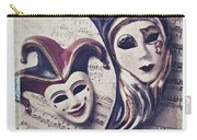 Two Masks On Sheet Music Carry-all Pouch