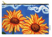 Two Sunflowers Carry-all Pouch by Genevieve Esson