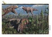 Two T. Rex Dinosaurs Confront Each Carry-all Pouch by Mark Stevenson