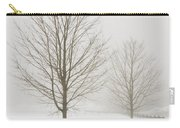 Two Trees And Fence In Winter Fog Carry-all Pouch