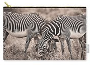 Two Zebras Grazing Together Kenya Carry-all Pouch