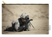 U.s. Army Soldier Sights In A Barrett Carry-all Pouch