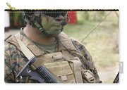 U.s. Marine Communicates Via Radio Carry-all Pouch
