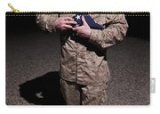 U.s. Marine Holding The American Flag Carry-all Pouch