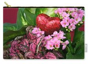 Valentine Heart And Flowers Carry-all Pouch