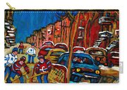 Verdun Rowhouses With Hockey - Paintings Of Verdun Montreal Street Scenes In Winter Carry-all Pouch