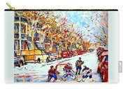 Verdun Street Hockey Game Goalie Makes The Save Classic Montreal Winter Scene Carry-all Pouch