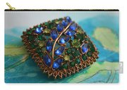 Vintage Blue And Green Rhinestone Brooch On Watercolor Carry-all Pouch