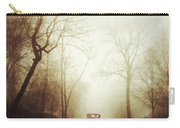 Vintage Car On Foggy Rural Road Carry-all Pouch by Jill Battaglia