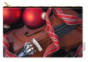 Violin And Red Ornaments Carry-all Pouch