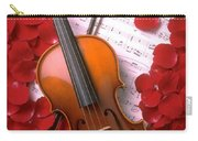 Violin On Sheet Music With Rose Petals Carry-all Pouch