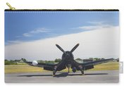 Vought F4u Corsair Fighter Plane On Runway Canvas Photo Poster Print Carry-all Pouch
