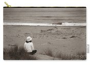Watching The Ocean In Black And White Carry-all Pouch
