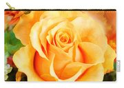 Water Color Yellow Rose With Orange Flower Accents Carry-all Pouch