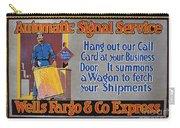 Wells Fargo Banner, 1914 Carry-all Pouch