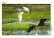 White And Grey Herons In Flight Carry-all Pouch