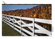 White Fence With Pumpkins Carry-all Pouch