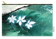 White Flowers Carry-all Pouch by Anil Nene