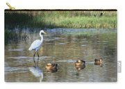 White Heron And Baby Ducks Carry-all Pouch