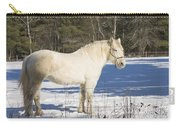 White Horse In Winter Maine Carry-all Pouch