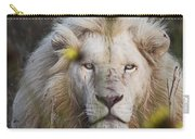 White Lion And Yellow Flowers Carry-all Pouch