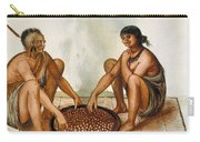 White: Native Americans Eating Carry-all Pouch