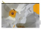 White Poppies On Yellow Carry-all Pouch