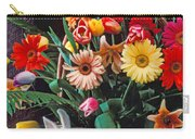 White Rabbit By Basket Of Flowers Carry-all Pouch