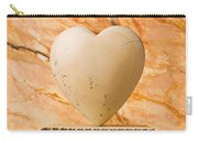 White Stone Heart On Pedestal Carry-all Pouch