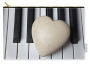 White Stone Heart On Piano Keys Carry-all Pouch