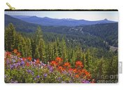 Wildflowers And Mountaintop View Carry-all Pouch by Ellen Thane and Photo Researchers