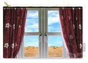 Window And Curtains With View Of Crops  Carry-all Pouch
