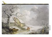 Winter Landscape With Men Snowballing An Old Woman Carry-all Pouch