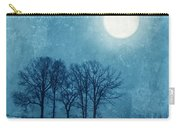 Winter Moon Over Farm Field Carry-all Pouch