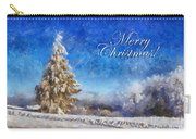 Wintry Christmas Tree Greeting Card Carry-all Pouch by Lois Bryan